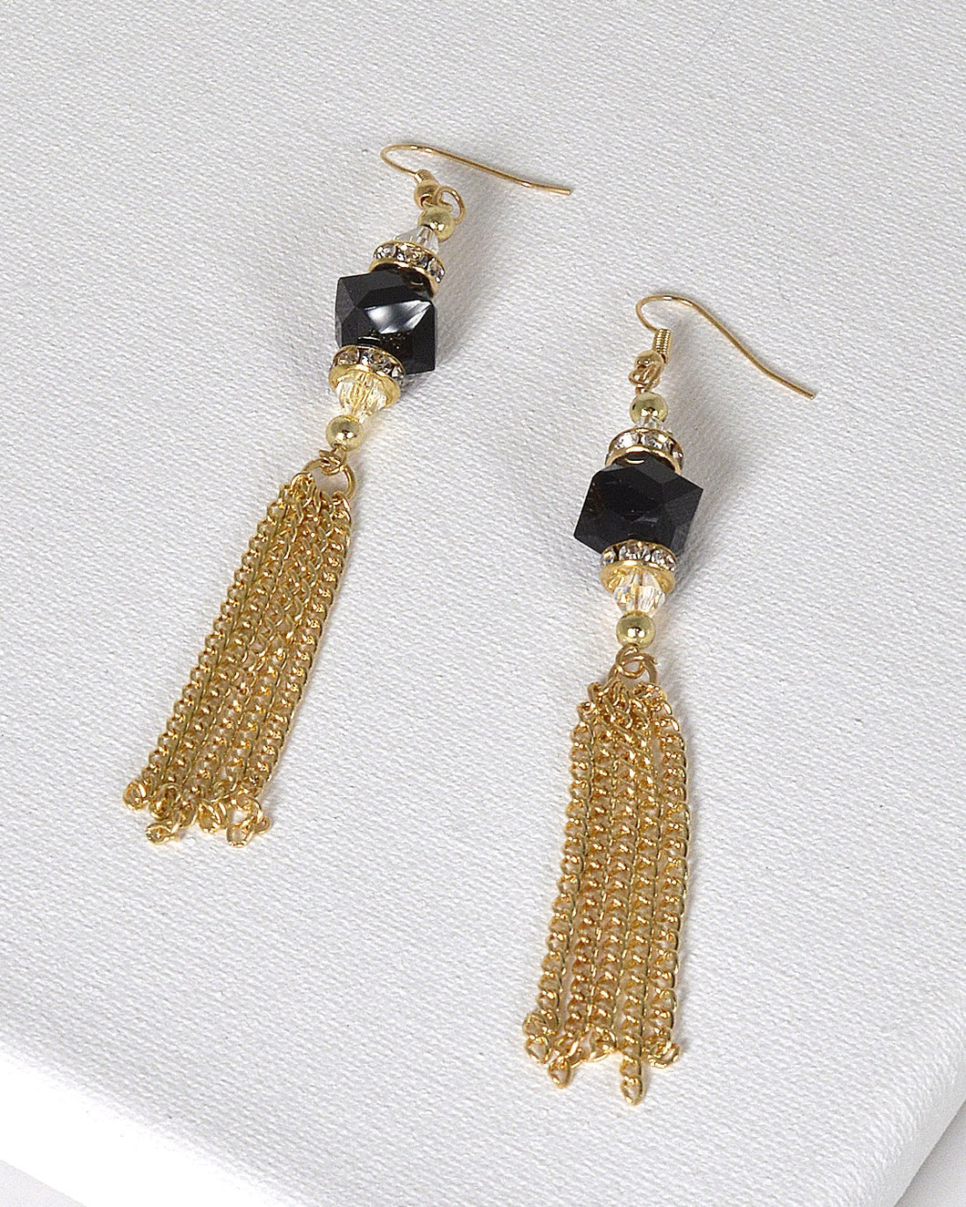 Tassel Style Crystal and Rhinestone Studded Drop Earrings