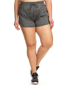 Plus Size Shorts With Twill Tape wording Side panels