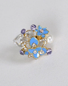 Pearl Stone and Crystal Embellished Adjustable Ring