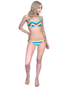 Muticolored balconnette push-up two-piece bikini