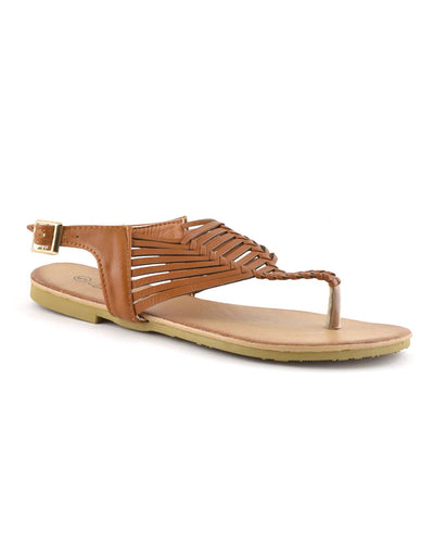Chic open-toe thong sandal features basket-weave design