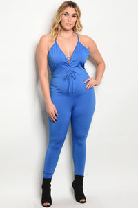 Plus size spandex blend fitted jumpsuit with a v neckline with lace up details