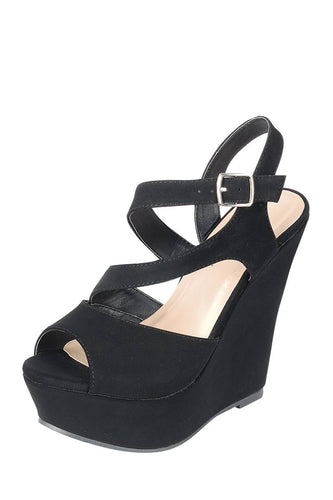 Ladies fashion suede fabric, upper ankle strap with adjustable buckle, and covered wedge heel