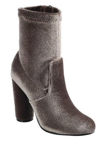 Ladies fashion reflections of sock-like ankle boot, closed almond toe, block heel with zipper closure