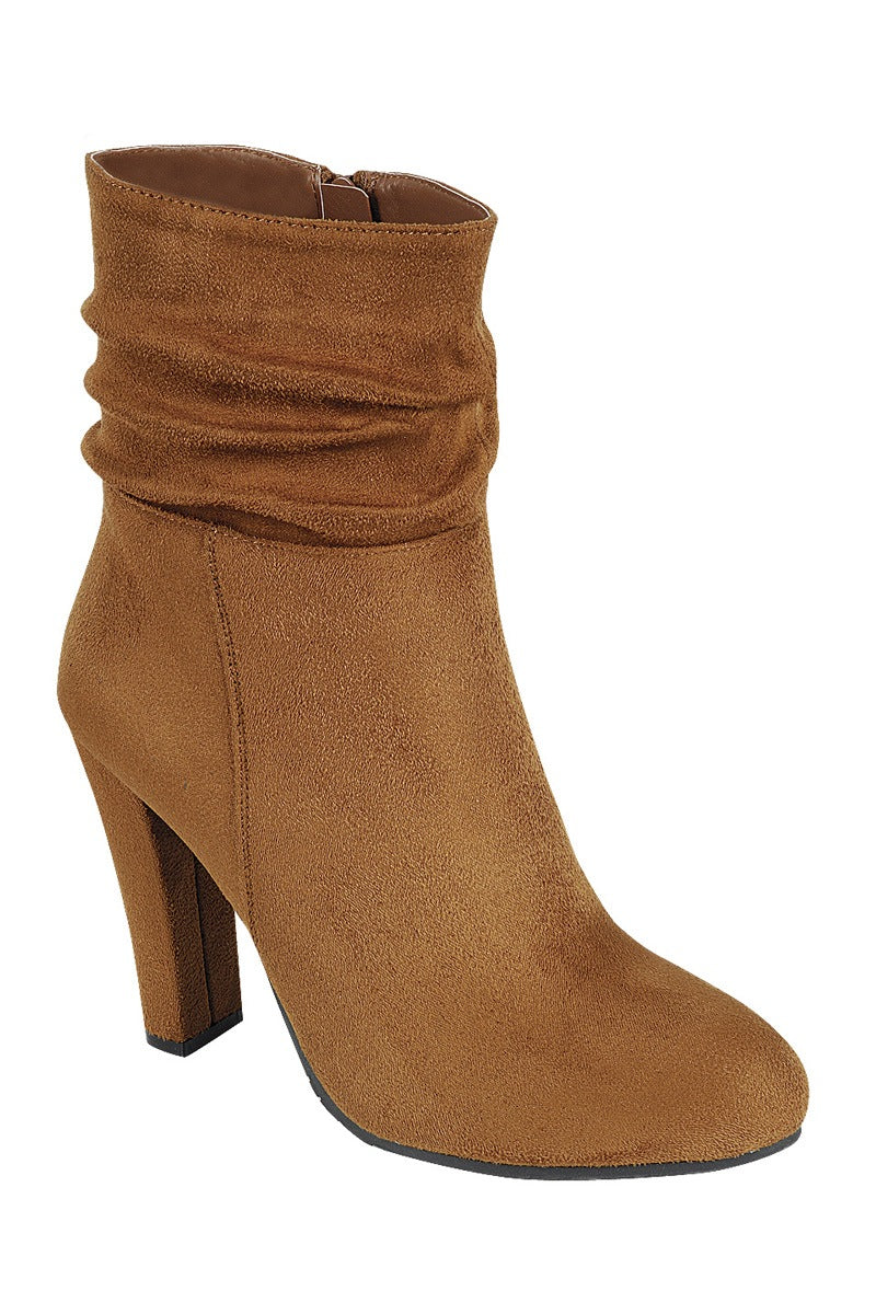 Ladies fashion gathered detail ankle boot, closed almond toe, block heel with zipper closure