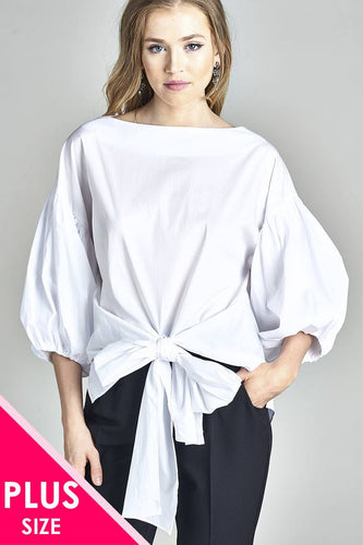 Ladies fashion 3/4 puff sleeve boat neck front waist bow tie shirt top
