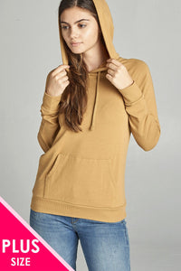 Ladies fashion long sleeve pullover french terry hoodie top w/ kangaroo pocket