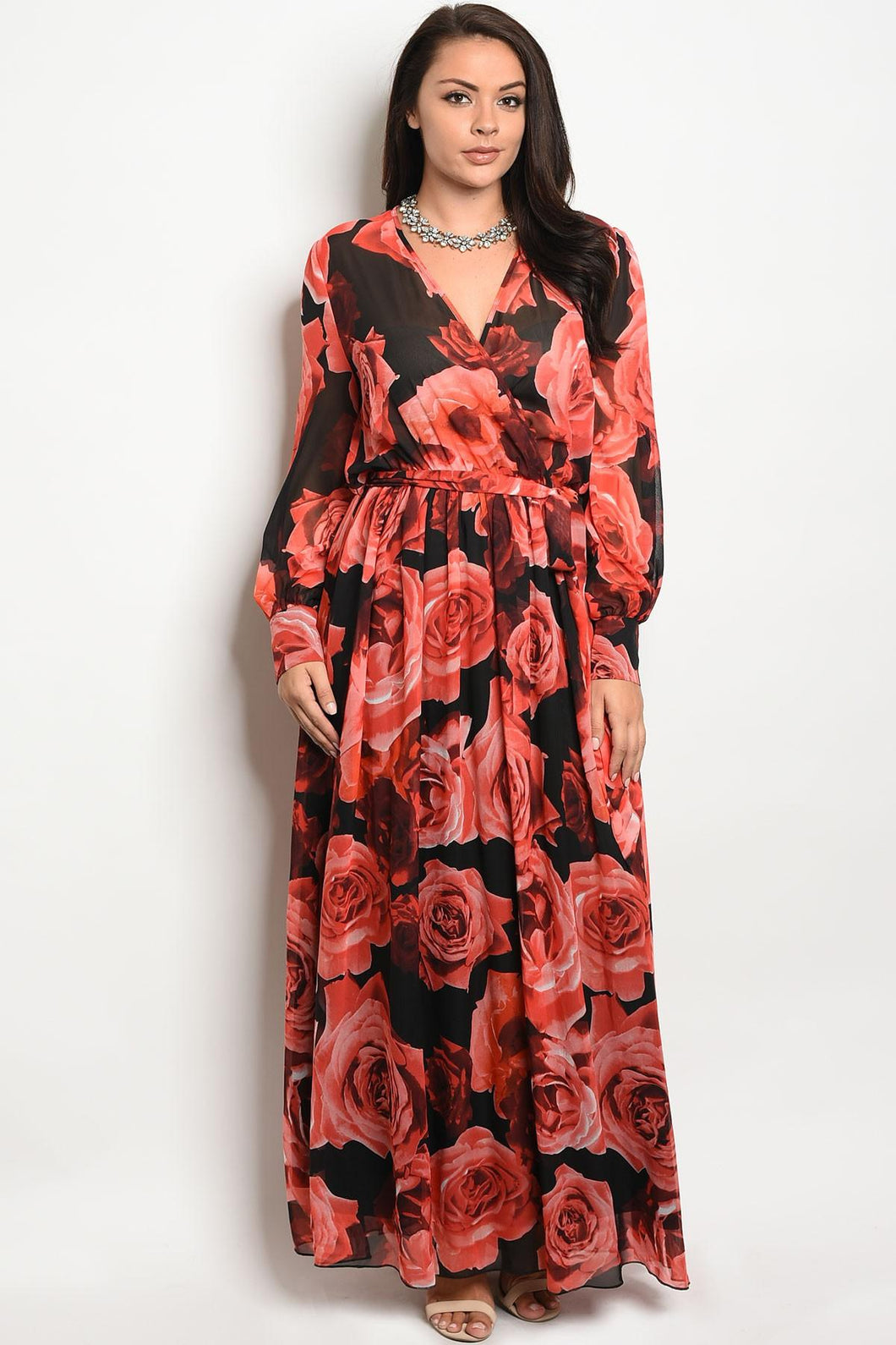Ladies fashion plus size long sleeve printed chiffon maxi dress with a v neckline
