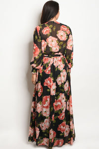 Ladies fashion plus size long sleeve floral print chiffon maxi dress with a v neckline