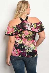 Ladies fashion plus size off the shoulder floral print top with ruffle details and a halter neckline