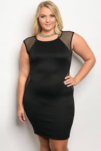 Ladies fashion plus size fitted bodycon dress with mesh details and a crew neckline