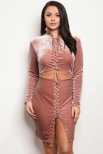 Ladies fashion long sleeve velvet bodycon dress that features lace up details and a cutout waist