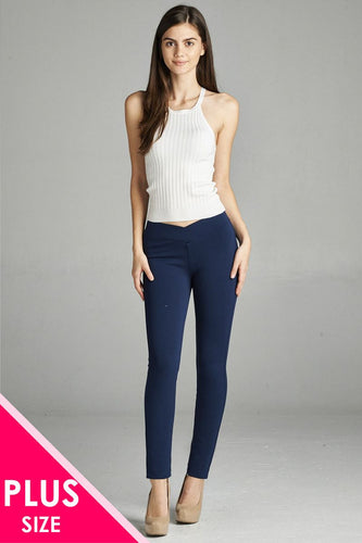 Ladies fashion plus nr span ponte seagull shaped waistband long pants