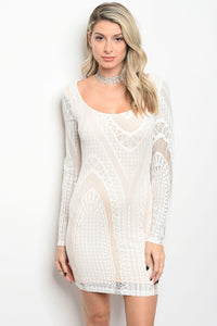 Ladies fashion scoop neck lace bodycon dress with sexy back detail