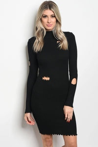 Knit fitted bodycon dress.