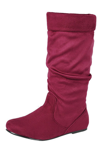 Ladies fashion ruched wedge boot is edgy, dress casual and chic, knee-high boot, closed almond toe, micro wedge heel