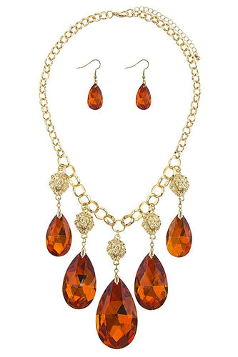 Faceted faux teardrop fringe station necklace set