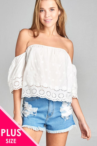 Ladies fashion plus size short sleeve off the shoulder crochet eyelet cotton top