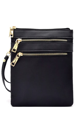 Multi zip pocket nylon twill cross body bag