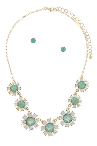 Faux gem daisy flower statement necklace set