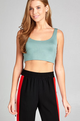 Ladies fashion sleeveless double scoop neck two ply crop rayon spandex top