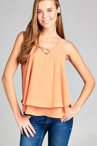 Ladies fashion sleeveless lace-up detail double layer georgette chiffon woven top