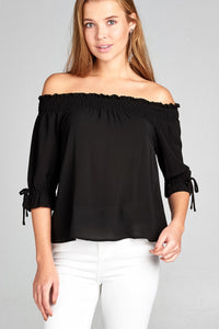 Ladies fashion short sleeve w/string off the shoulder smocked detail crepe woven top