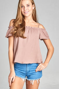 Ladies fashion short sleeve smoked neckline w/back self bow tie slub woven top
