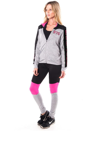 Ladies fashion active sport yoga / zumba 2 pc set zip up jacket & leggings outfit