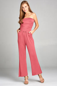 Ladies fashion tube top long wide leg rayon spandex jumpsuit
