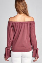 Ladies fashion off the shoulder tie-front french terry top