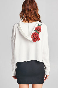 Ladies fashion floral patched hoodie french terry top