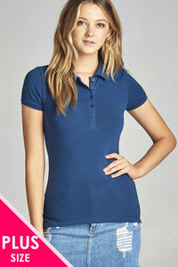 Ladies fashion plus size classic jersey polo top