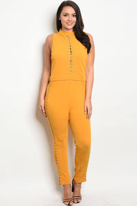 Ladies fashion sleeveless fitted jumpsuit with a mock neckline and lace up details