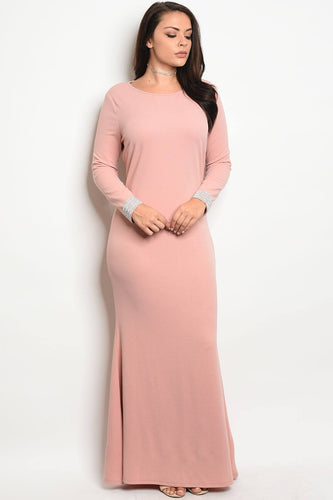 Ladies fashion long sleeve fitted plus size gown with a rounded neckline and open back with jeweled accents