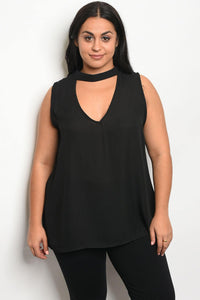 Ladies fashion plus size acrylic blend top with a v neckline, featuring a choker and lace detail