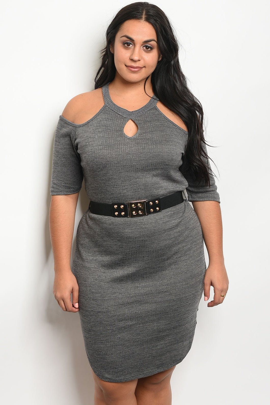 Ladies fashion plus size 3/4 sleeve ribbed bodycon dress with a crew neckline and cold shoulders