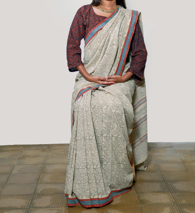 KALAMKARI SAREE : KORA : BLACK