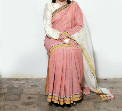 LIGHTWEIGHT CROSS COLOUR SAREE : MANJISHTHA BRICK RED : KORA