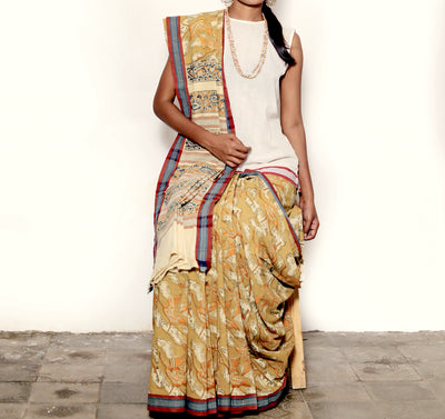 KALAMKARI SAREE : ANAR YELLOW : LIGHT MEHNDI GREEN