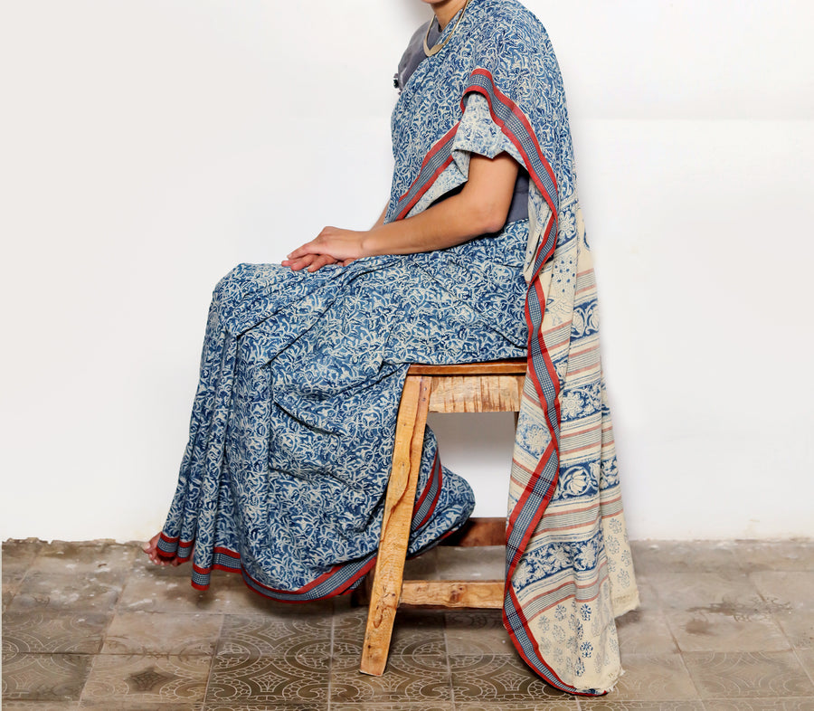 KALAMKARI SAREE : DARK INDIGO : LIGHT INDIGO
