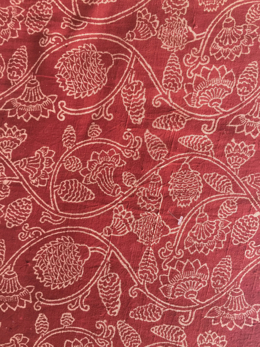 KALAMKARI FABRIC : ALIZARIN RED : KORA