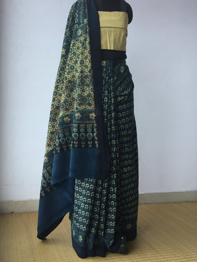 AJRAKH SAREE : DARK INDIGO : BLACK : ANAR YELLOW