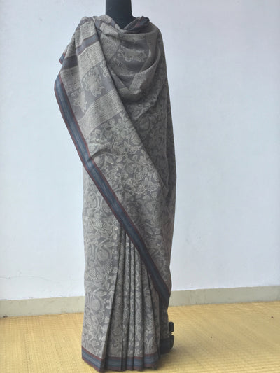 KALAMKARI SAREE : BLACK : KORA