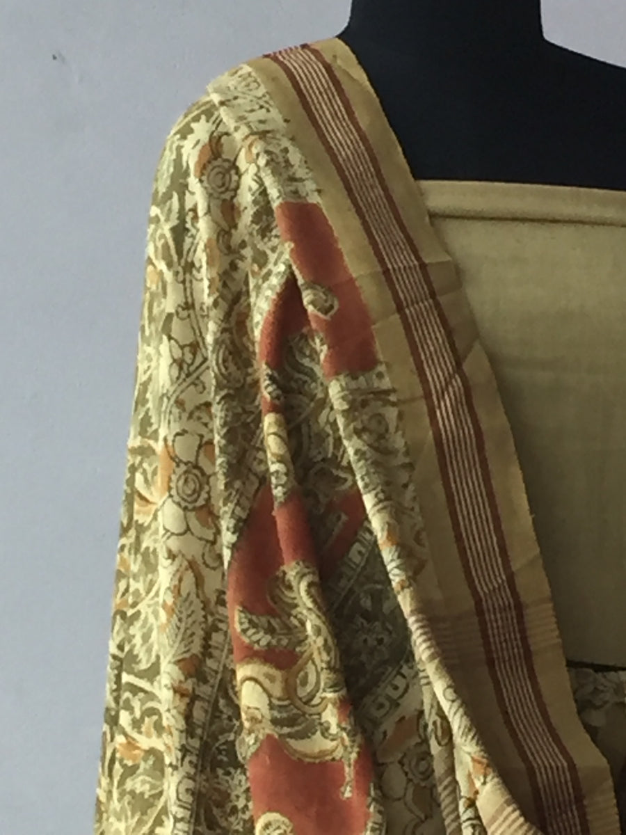 KALAMKARI SAREE : ANAR YELLOW : ANAR GREEN : MANJISTHA BRICK RED