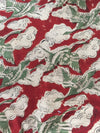 KALAMKARI FABRIC : ALIZARIN RED : ANAR GREEN : KORA