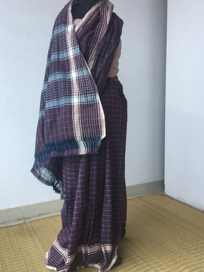 GEOMETRIC SAREE : DARK INDIGO : ALIZARIN RED