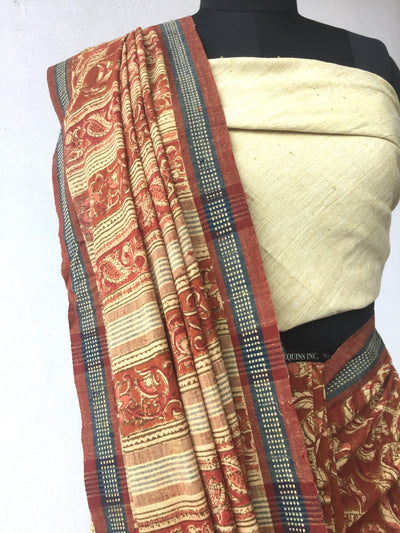 KALAMKARI SAREE : MANJISHTHA BRICK RED : ALIZARIN RED