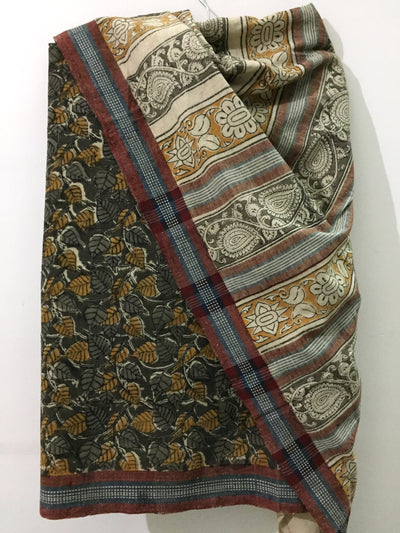 KALAMKARI SAREE : ANAR GREEN : ANAR YELLOW