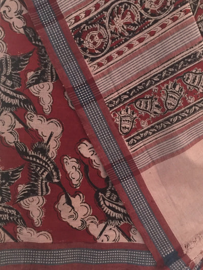 KALAMKARI SAREE : ALIZARIN RED : BLACK